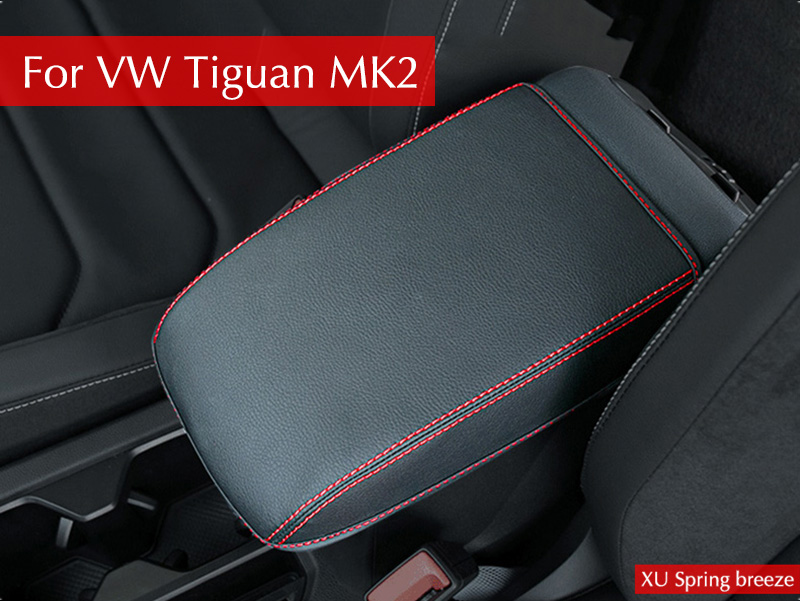For VW Tiguan mk2 2016 2017 2018 Armrest Console Pad Cover Cushion Support Box Armrest Top Mat Liner Car S pu leather car suv center box armrest cushion console soft pad cushion cover mat memory foam rest pillow armrest supports