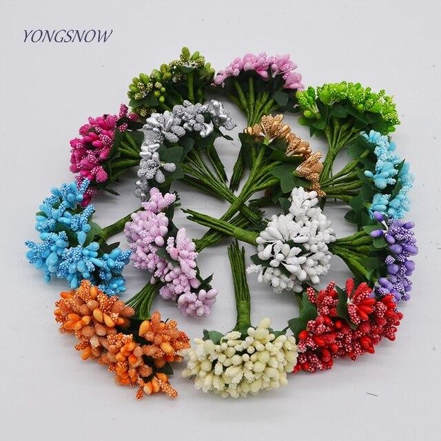 24 Buah Banyak Buatan Bunga Mini Mulberry Benang Sari Kawat Batang  Pernikahan Daun Kecil b558e3497d