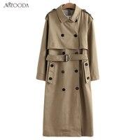 NATOODA Sashes לחצן אופנה נשים כותנה 2 צבעי מעיל טרנץ שרוול ארוך חם חורף מעילי נשים נשים מזדמנים חולצות XY2959