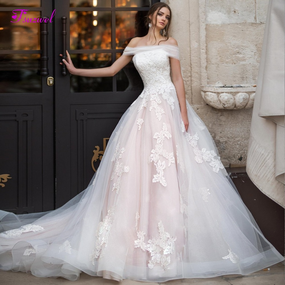 Fsuzwel Romantic Boat Neck Pleated A-Line Wedding Dress 2019 Luxury Appliques Court Train Princess Bridal Gown Vestido De Noiva