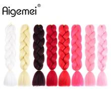 Aigemei 24-дюймовий Ombre Kanekalon Jumbo Косуха Синтетична в'язання гачком довжина волосся 100g
