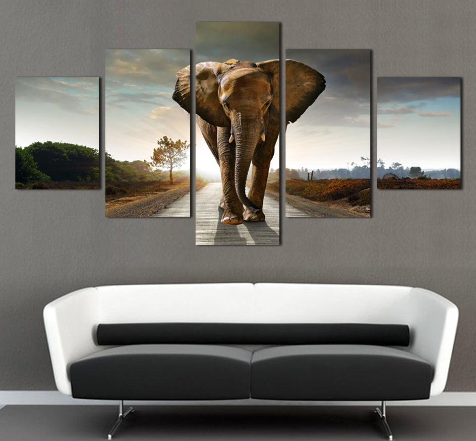 5 ppcs elephant painting canvas wall art picture home decoration living room canvas print modern painting