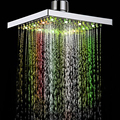 "Hot sale 8"" inch Square No Battery 7 Colors Changing 12PCS LED Shower Head Top Rain Shower for Home Bathroom"