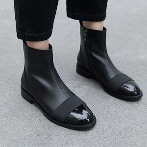 Image 4 - Allbitefo Thương Hiệu Thời Trang Da Thật Chính Hãng Da Thấp Gót Giày Bốt Nữ Phối Màu Cổ Chân Giày Cho Nữ Adies Giày Da Bò