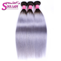 Soul Lady 1B/Grey 2Tone Color Straight 3 Bundles Brazilian Hair Weave Bundles Dark Root Sliver Gray Ombre Hair Bundles Remy Hair