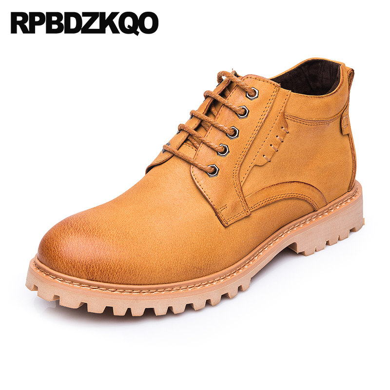 Designer Shoes Men High Quality Yellow Combat Chunky 2021 Fall Booties Fashion Genuine Leather Autumn Full Grain Army Military