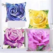 Fuwatacchi Floral Cushion Cover for Sofa Home Decor Watercolor Flowers Throw  Pillow Cover Decorative Pillowcase 45X45 цены