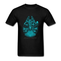Fashion 2017 Shirts Mens T Shirts Star Wars Millennium Falcon Glow In The Dark Cool Tees Cotton Mens T Shirts Casual T Shirts