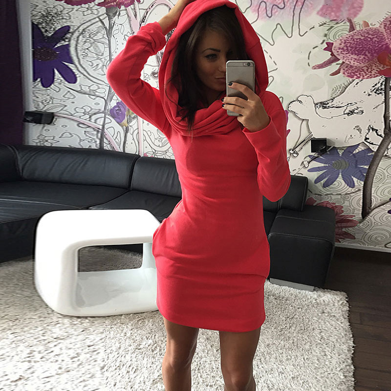 Autumn Winter Women Sexy Dress With Hat Solid Color Long Sleeve Pocket Keep Warm Casual Dresses IK88