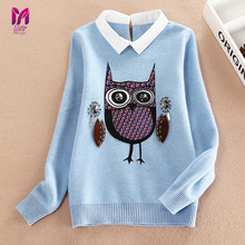 2017miaoyi autumn new vogue ladies sweaters youngsters fleece lined zipper sweaters cartoon cute owl informal cotton ladies sweater