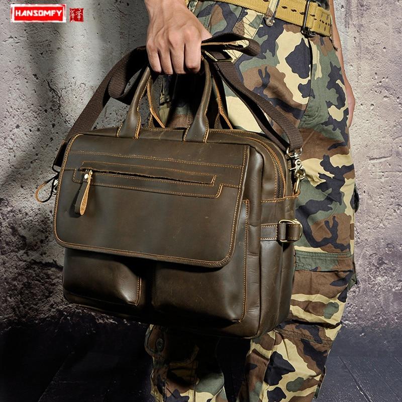 Crazy Horse Leather Retro Men's Briefcases 14 Inch Laptop Business Portable Crossbody Bags Male Computer Shouder Messenger Bag