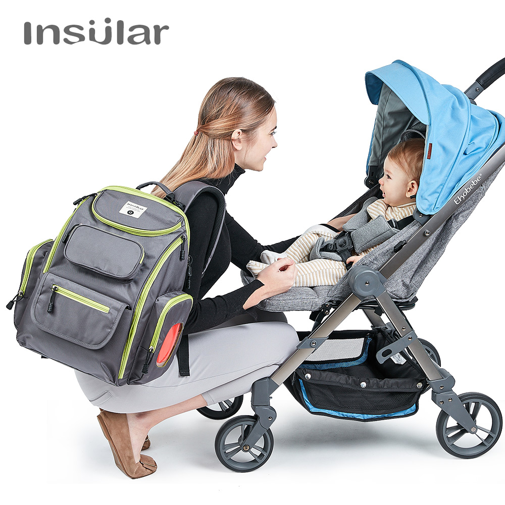 Insular Baby Diaper Nappy Stroller Bag Large Capacity Mommy Maternity Diaper Bag Backpack Mummy Nursing Mother Bag Organizer Bag