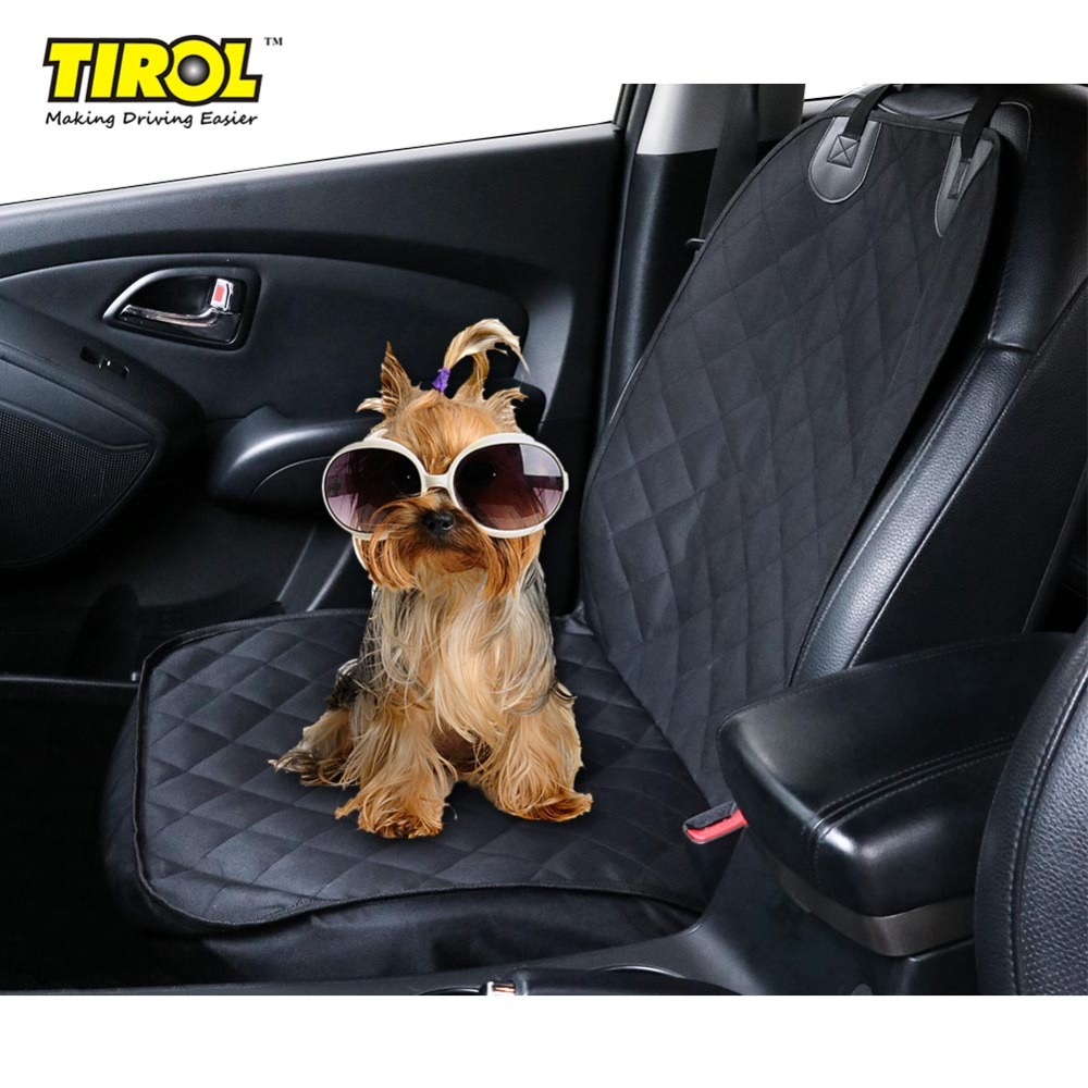 TIROL Pet Seat Cover Waterproof & Nonslip Backing Car Single Seat Front Cover for Dog Pet Seat Protector Black Free Shipping