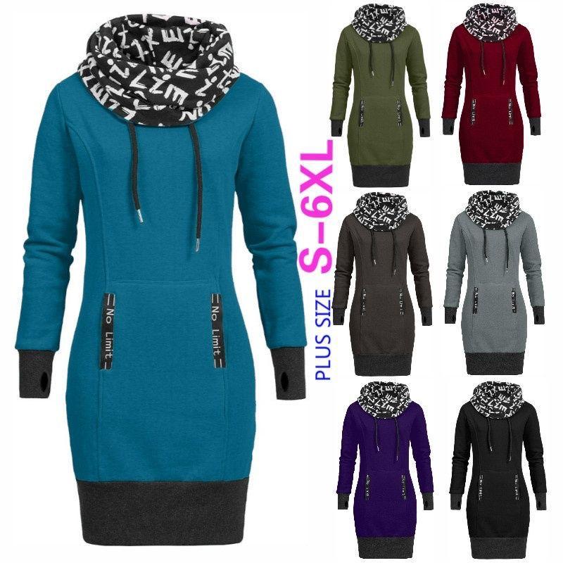 xxxxxxl xxxxxl  Spring Plus Size Women Dress Scarf Collar Letter Printing Dress Sportwear Women Harajuku Hoodies Dress Vestido
