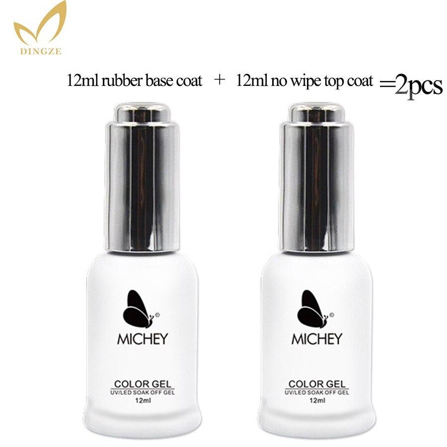2 piezas capa Base y Top Coat Set 12 ml esmalte de uñas de Gel de baño de larga duración Base y parte superior gel barniz MICHEY