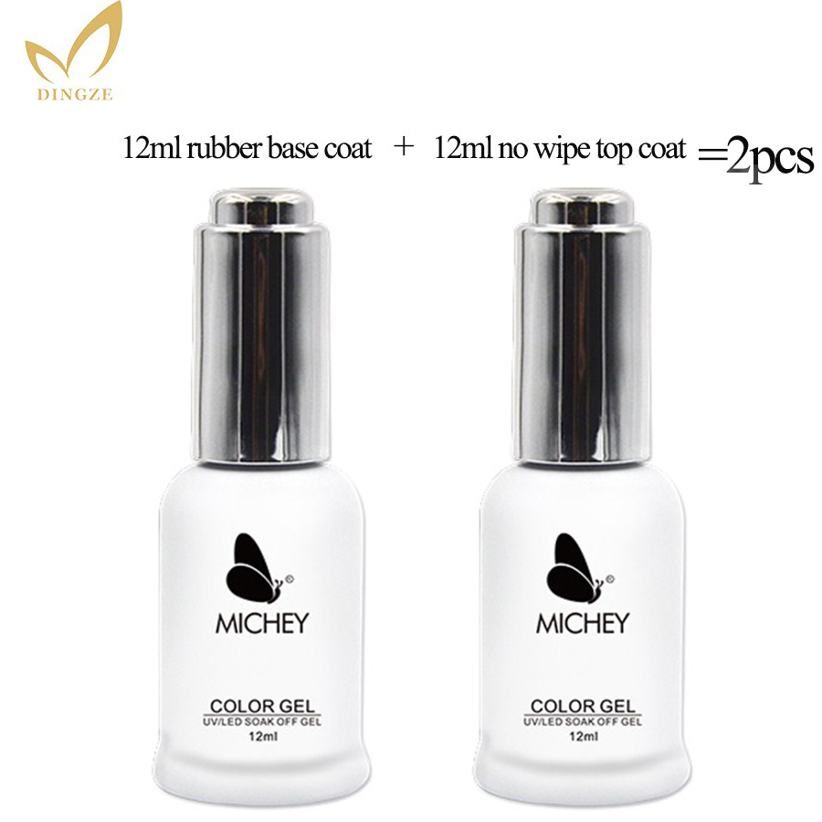 2 stücke Base Coat & Top Coat Set 12 ml Gel Nagellack Tränken Weg Langlebige Basis und Top gel Lack MICHEY