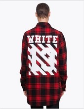 2017 Tyga cool oversized T shirts Tee men hip hop red Tartan Plaid top white 13