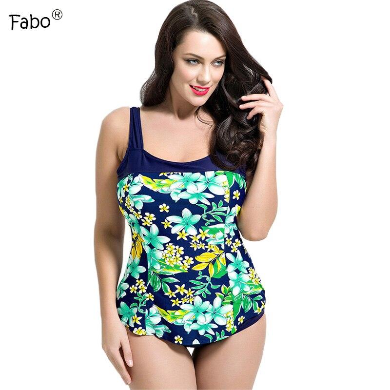 Fabo 2017 Sexy Plus Size Swimwear Women One Piece Large Size Swimsuit Push Up Padded Print Swimsuit Patchwork Backless Monokini backless print plus size one piece swimsuit