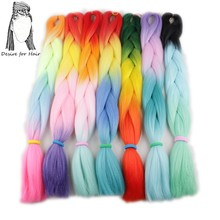 Desire for hair 1 piece brown  heat resistant synthetic braiding hair extensions jumbo braids for box braids hair making