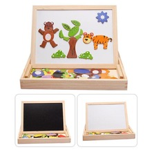 Kids Educational Wooden Magnetic Writing Drawing Board Plants Animal Jigsaw Puzzle Toys Gift YJS Dropship недорого