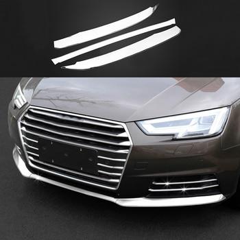 Accesorios de coche 3x inoxidable inferior delantero Parrilla de rejilla de guardia recorte cubierta para Audi A5 2018 y A4 B9 2017 -2018