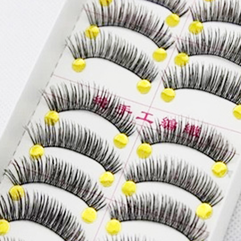 10 Pair Handmade Eyelashes Natural Long False Eyelashes Extension Tool Voluminous Fake Eye Lashes for Building Makeup Eyelashes