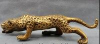 006929 15 Народная китайская бронза Животные диких свирепый Leopard пантера статуя Скульптура