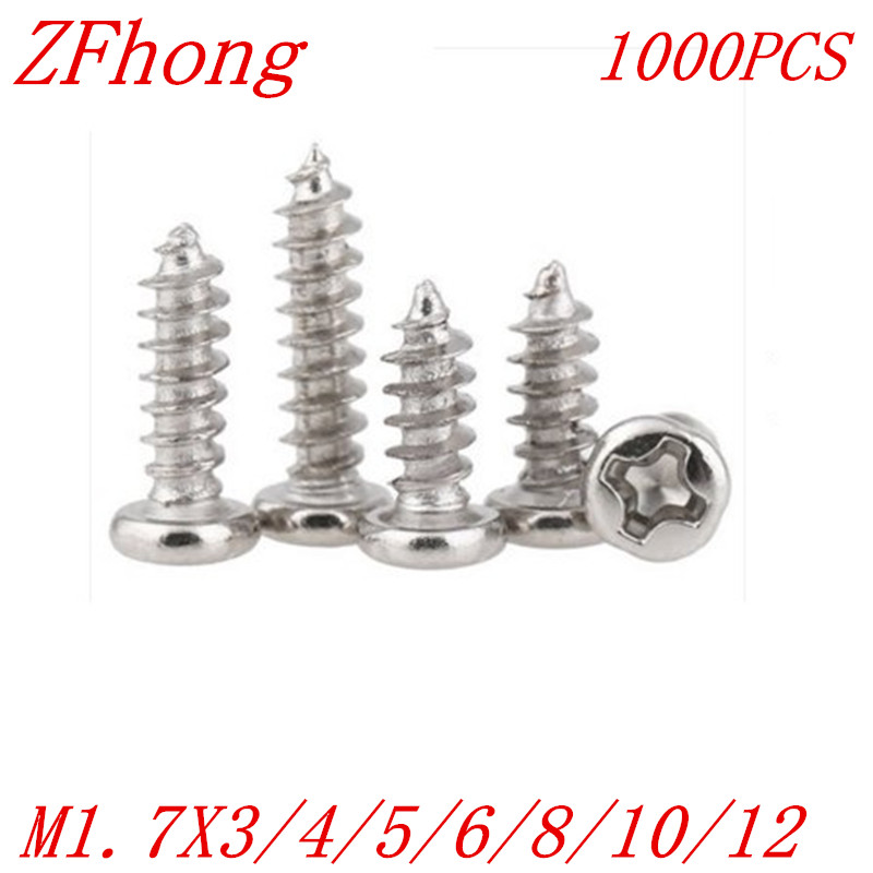 1000PCS M1.7*4/5/6/8/10/12  1.7mm nickel plated micro electronic screw cross recessed phillips round pan head self tapping screw 6 10 mm brass nickel plated m20 1 5 mm electric cable gland waterproof x 10