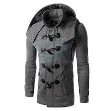 New 2018 Autumn/Winter Horn Button Hooded Jacket Men Slim Woolen Coat Male Trench Coat Good Quality Windbreaker M-2XL 14HZ01 longline horn button woolen coat