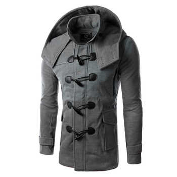 New 2018 Autumn/Winter Horn Button Hooded Jacket Men Slim Woolen Coat Male Trench Coat Good Quality Windbreaker M-2XL 14HZ01 - DISCOUNT ITEM  0% OFF All Category