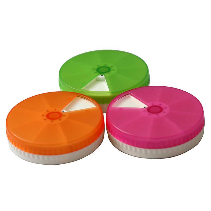 1 Uds., semanal, 7 días, de plástico, redondo, diario, 7 ranuras para píldoras artesanales, caja organizadora, caja organizadora, tableta, soporte de medicina