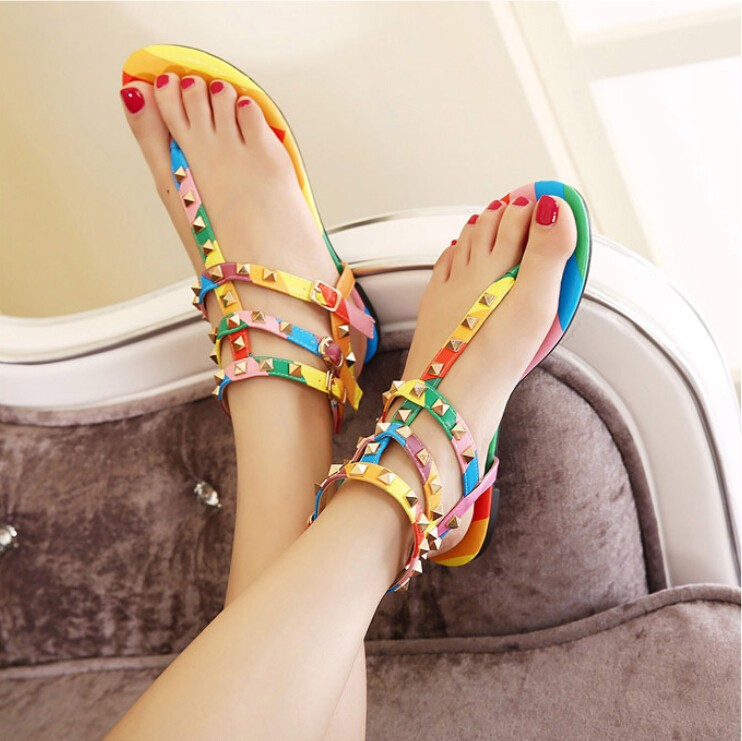 c543af7a8a4af5 ... flat sandal ankle strap designer summer shoes for women rivet sandals.  season summer. material PU. 1 11 111 1111 11111 ...