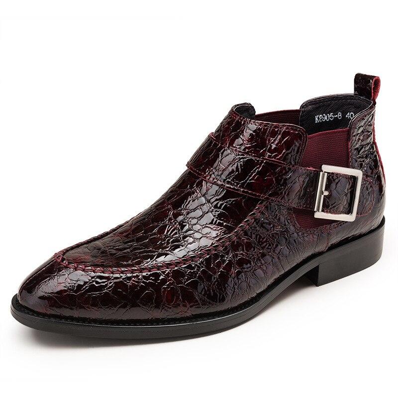 cowhide men's business chelsea boots Genuine Leather British retro Chelsea short boots men autumn winter steel toe shoes Riding