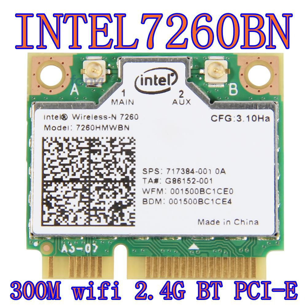 Intel Wireless-n 7260 7260hmw Bn Half Mini Pci-e Bluetooth Bt Tarjeta Wifi inalámbrica 802.11 B G N 2.4GHz