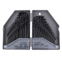 Allen Six Wrench Hex Key Set 30PC SAE METRIC Long Short Arm CrV Steel With Case