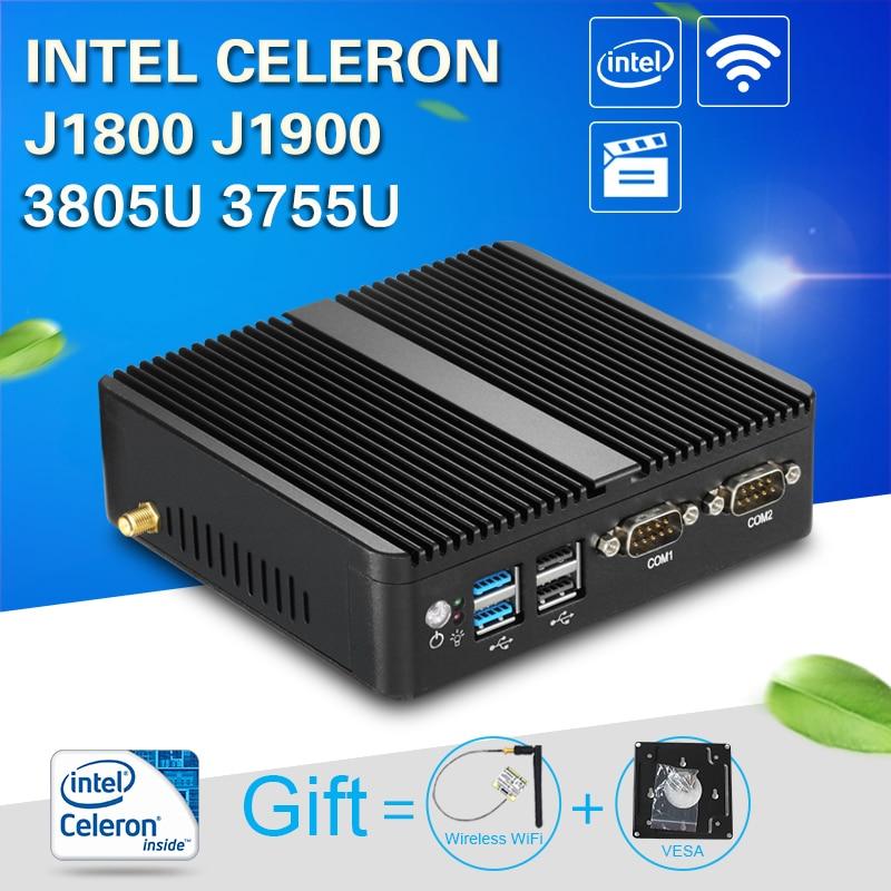 Galleria fotografica XCY Sans Ventilateur Mini PC Windows 10 4 GB RAM <font><b>Intel</b></font> J1800 J1900 3805U 3755U HTPC Industrielle PC Nettop 2 LAN 2 RS232 HDMI VGA WiFi