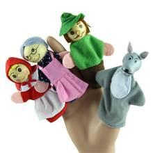 新4ピース/セット赤ずきんフードクリスマス動物指人形のおもちゃ教育玩具ストーリーテリング人形ストレスリリーフのおもちゃ20