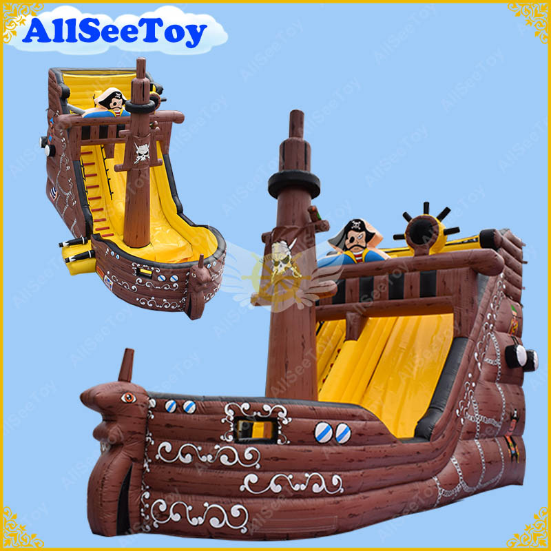 Glissière d'eau gonflable de bateau de Pirate de bonne qualité avec la piscine, maison de rebond matérielle de bâche de PVC