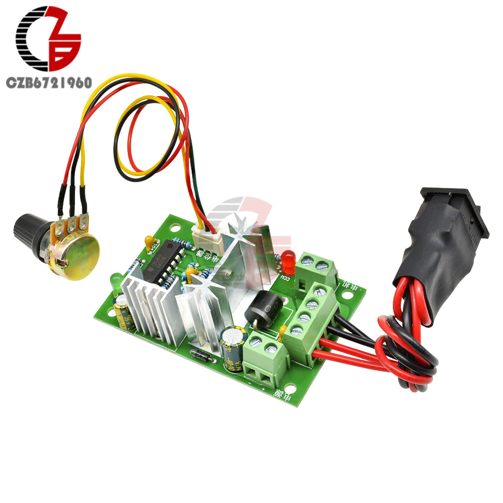6-30V 80W 10A Reversible DC Motor Speed Controller High Torque Adjustable PWM Speed Regulator With Control Switch Potentiometer