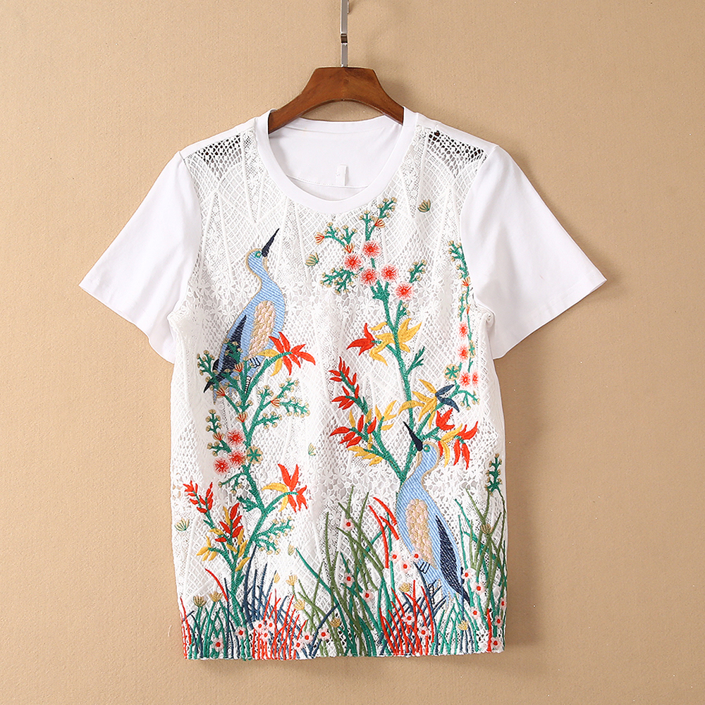 Red RoosaRosee Runway Summer Women Floral Embroidery Crochet Short Sleeve Sexy Cotton Tshirt Tops Office Lady