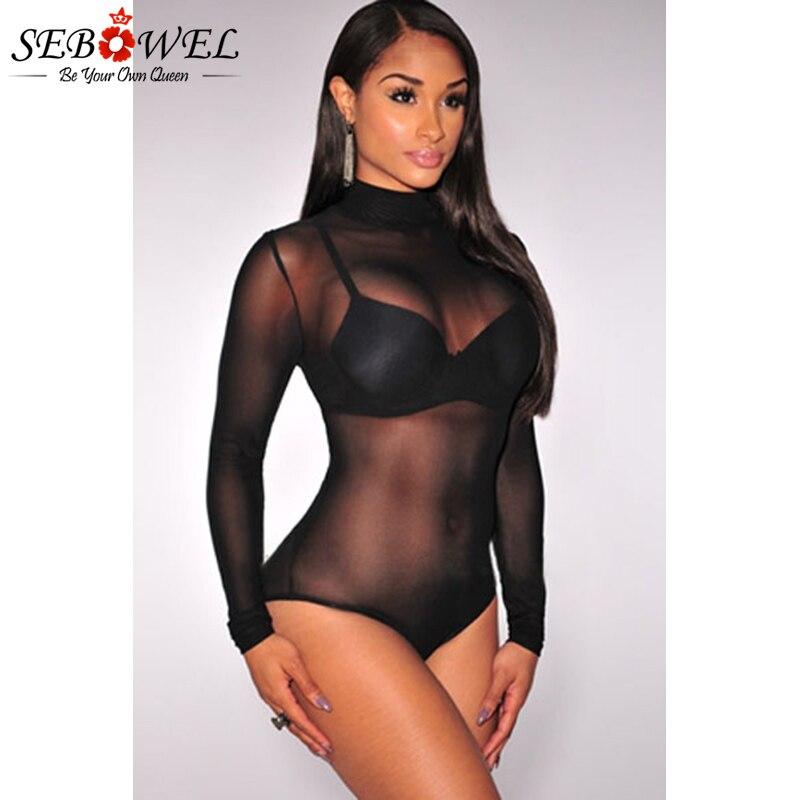 Black-Mesh-Unlined-Mock-Neck-Bodysuit-LC3278-3
