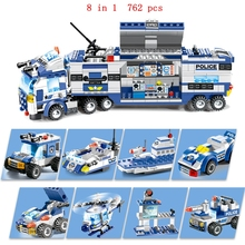 Creative 8 in 1 special police city station assembled weapons truck blocks childrens educational toys gifts