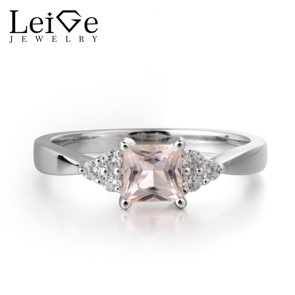 Leige Jewelry Natural Pink Morganite Gemstone Princess Cut Engagement Romantic Rings 925 Sterling SilverLeige Jewelry Natural Pink Morganite Gemstone Princess Cut Engagement Romantic Rings 925 Sterling Silver