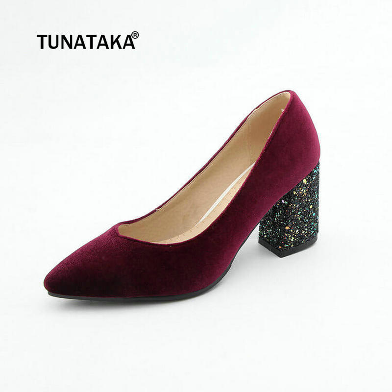 Fashion Velvet Pointed Toe Chunky High Heels Slip On Shallow Dress Party Pumps Shoes Woman Green Wine Red Black shofoo handmade fashion women pointed toe low heels leopard pumps slip on shoes woman dress