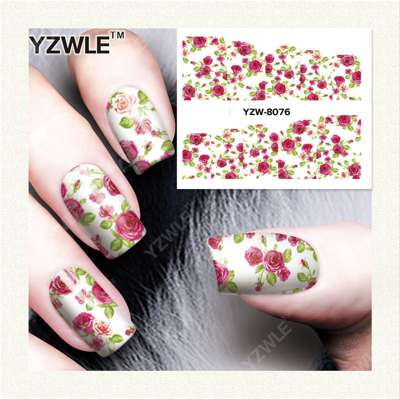 YZWLE 1 Sheet DIY Decals Nails Art Water Transfer Printing Stickers Accessories For font b Manicure
