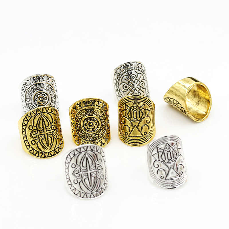 4 Different Totem Forefinger Rings Carving Wide Gold Silver Rings for Women  Jewelry
