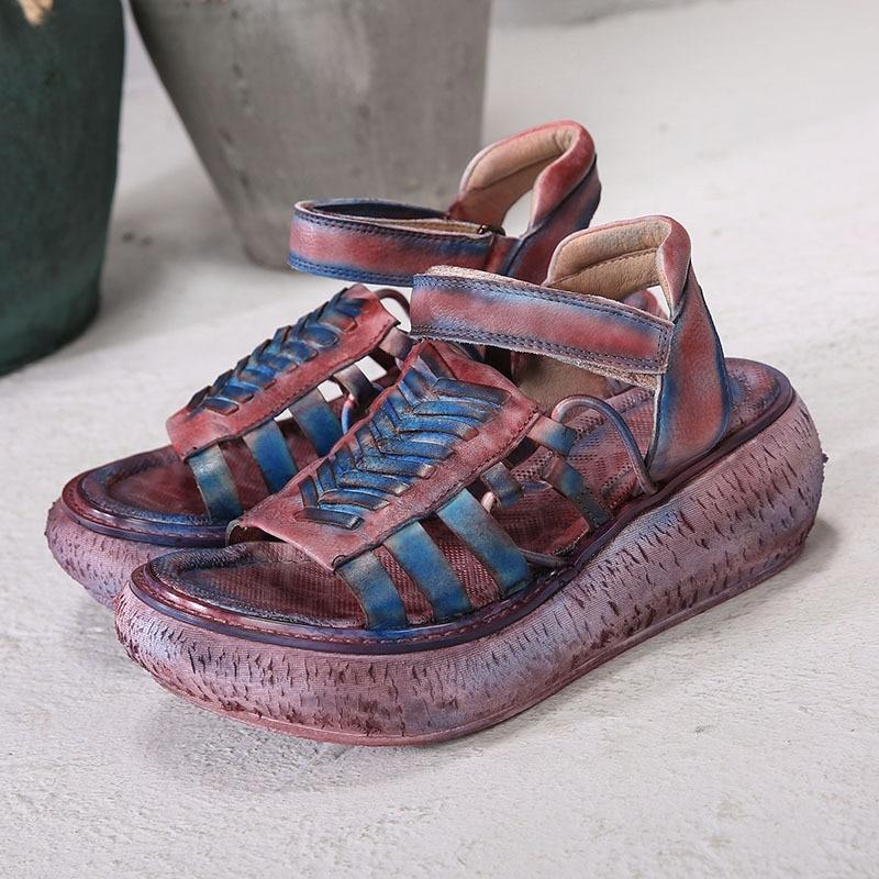 D'été Épais Véritable 2019 En Sandales Chaussures Talons Artdiya Rétro Et D'origine Femmes La À Souple Printemps forme De Red Nouvelle Plate Main Purple Cuir Coins qnCwIYFw
