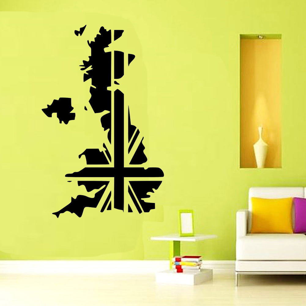 Free Shipping UK Map England Vinyl Wall Sticker Wall Art Decal ...