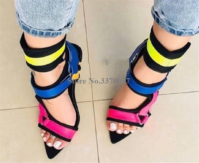 2019 Summer New Fashion Pointed Open Toe Suede Leather Stiletto Heel Gladiator Sandals Ankle Wrap Buckles High Heel Sandals Heel in High Heels from Shoes