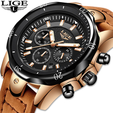 Relojes Hombre 2019 New LIGE Quartz Wristwatch Male Large Dial Gold Black Leather Watches Men Wild Sports Waterproof Chronograph